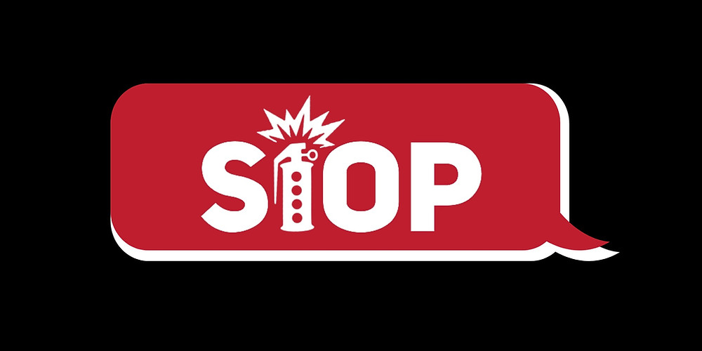 """Black background. Centered red dialogue box with a white border. The """"StOP"""" logo is in white text in the center of the red dialogue box."""