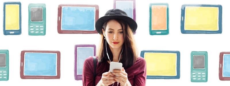 Social media girl browsing on mobile phone