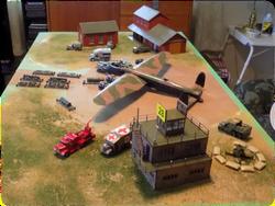 "RAF Linton-on-Ouse 42"" x 24"" diorama under construction, 1:72"