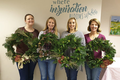 Group Christmas Wreath Making With Friends
