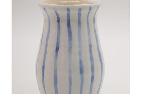 Stripy Blue & White Vase