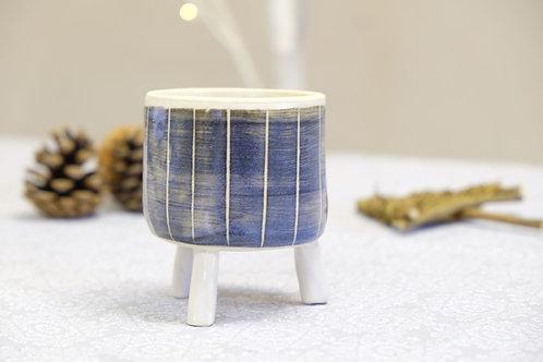 Striped Tripod Plant Pot