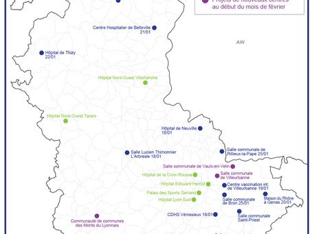Carte des centres de vaccinations ouverts dans le Rhône