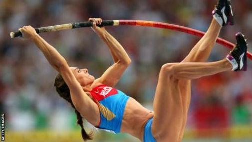 Yelena Isinbayeva pole vaulting Russia.j