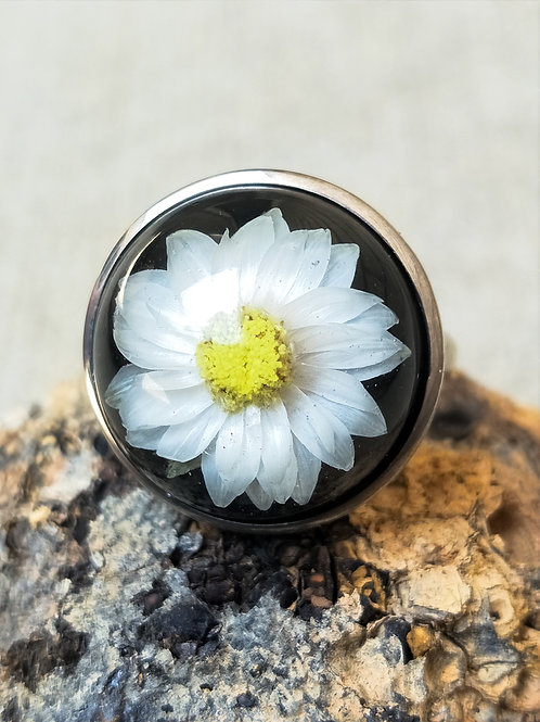 Sterling silver wildflower adjustable 20mm ring