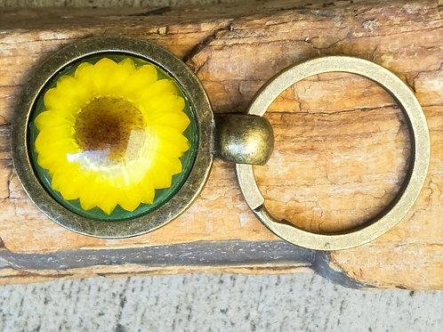 Wildflower antique bronze keyring