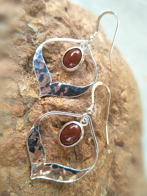 Red dirt hammered arabesque sterling silver drop dangles