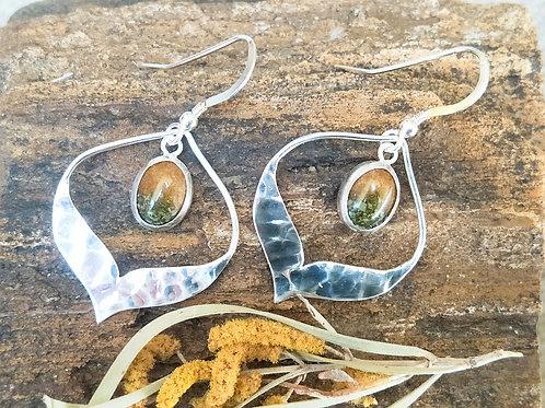 Mulga leaf & flower hammered arabesque sterling silver drop dangles