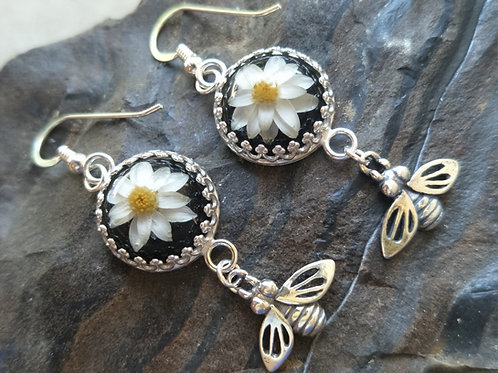 Wildflower and bee sterling silver gallery dangles