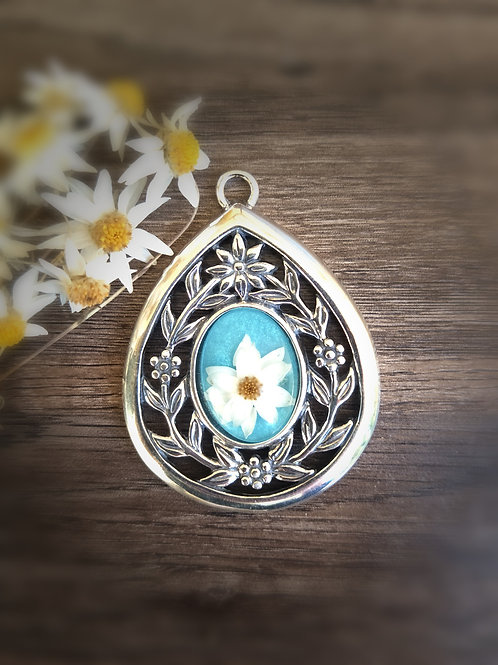 Sterling silver wildflower drop pendant with floral filigree