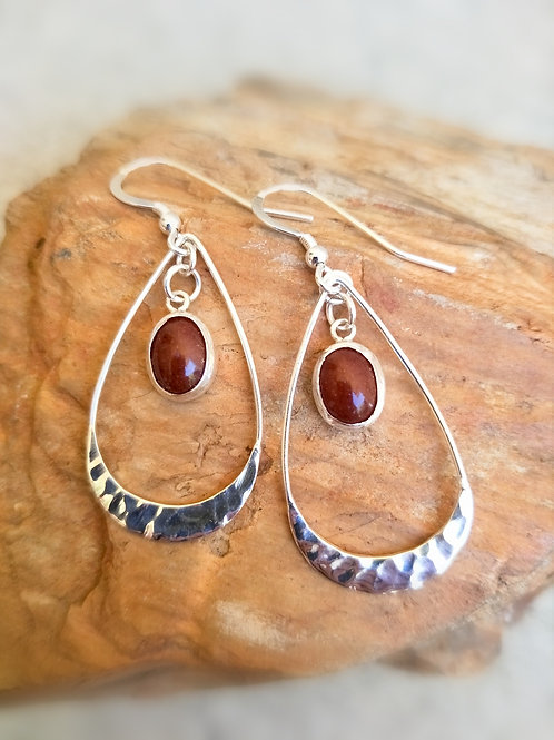 Red dirt hammered sterling silver drop dangles