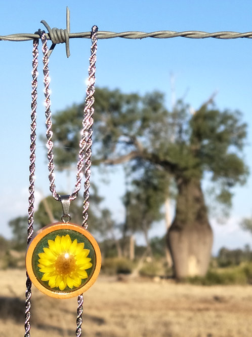 Wildflower wood bezel pendant with chain