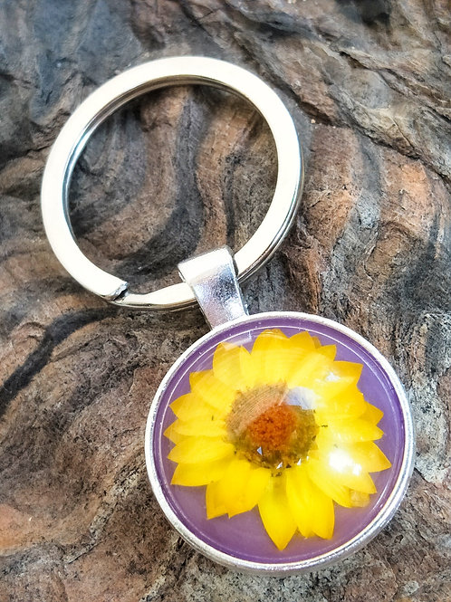 Wildflower silver plated keyring