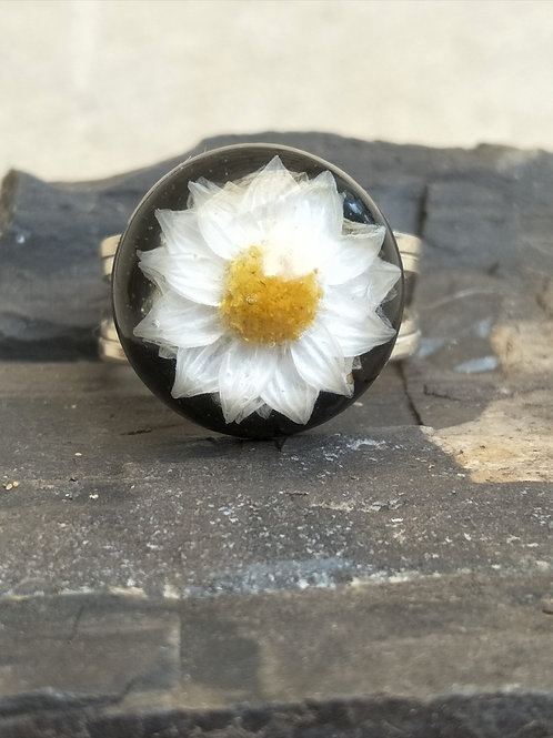 Sterling silver lightweight adjustable wildflower ring