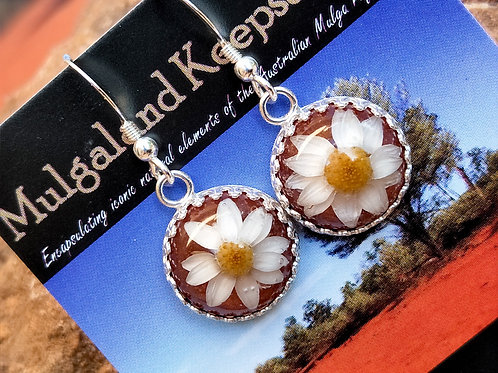 Wildflower & red dirt sterling silver 14mm gallery dangles
