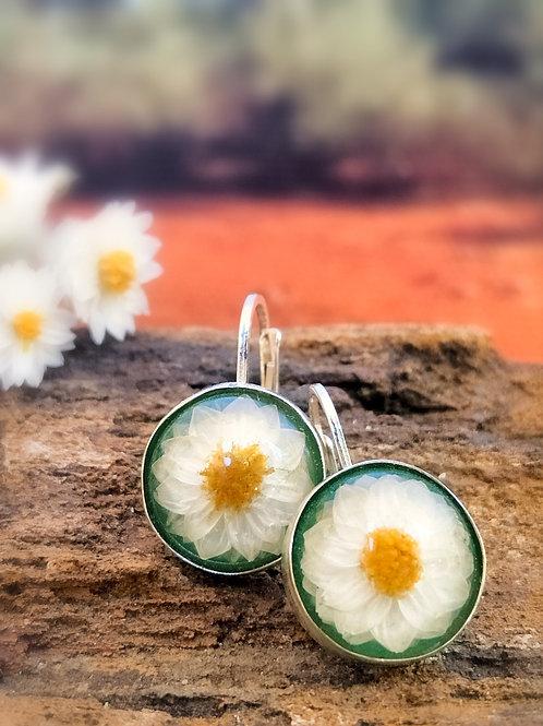 Wildflower sterling silver leverback earrings (green)