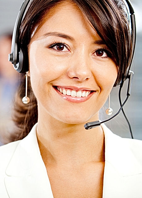 Female customer support operator with he