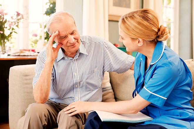 Community Nurse Visits Senior Man Suffer