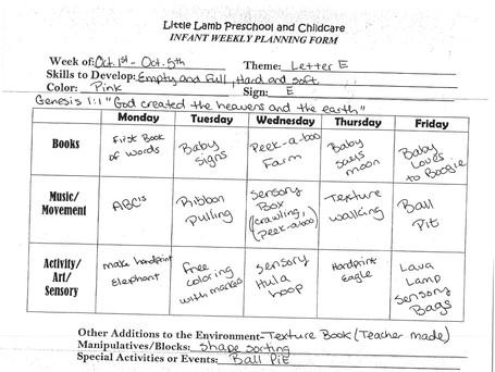 Sample of Weekly Curriculum