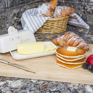 Ceramic Farmhouse Style Butter Dish with Lid