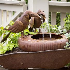Folk Art Crows Water Fountain