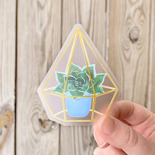 Watercolor Succulent Glass Terrarium Sticker