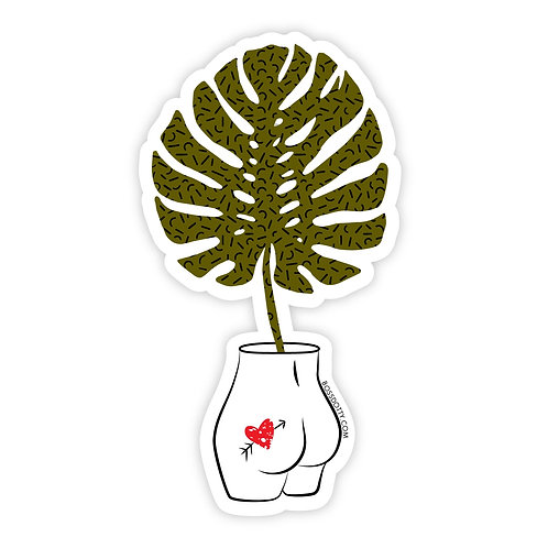 Monstera Leaf Tatted Booty Sticker