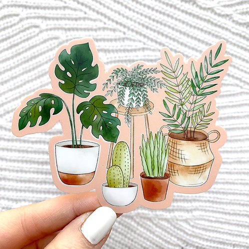 Potted Plants Watercolor with Pink Background