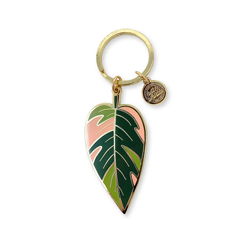 Pink Princess Philodendron Keychain