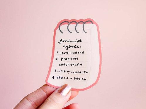 Feminist Agenda Vinyl Sticker