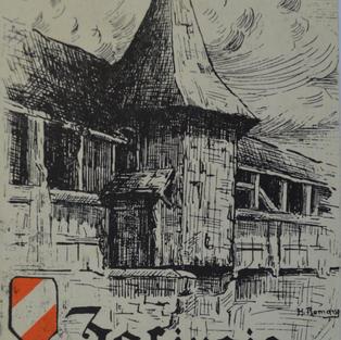 Zofinger Postkarte der Spreuerbrücke von 1820.