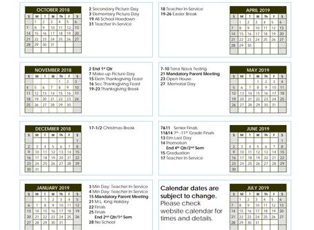 SCA 2018-19 Academic Calendar