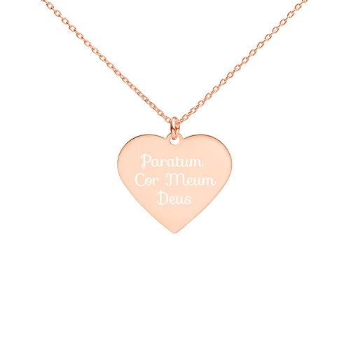 Paratum Cor Meum Deus Engraved Silver Heart Necklace
