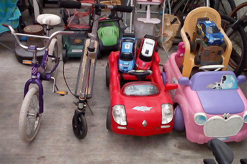 Car Toys, Small bicycles and Scooters