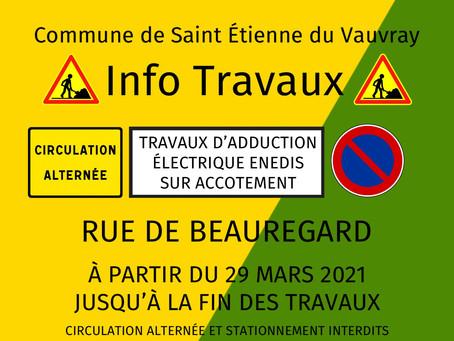 INFO TRAVAUX Rue de Beauregard
