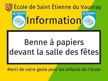 RAPPEL : Benne à papiers pour les enfants de l'école