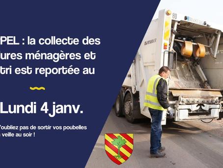 Rappel : Collecte des ordures ménagères et du tri