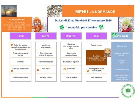 Menu de la cantine du 23/11 au 27/11