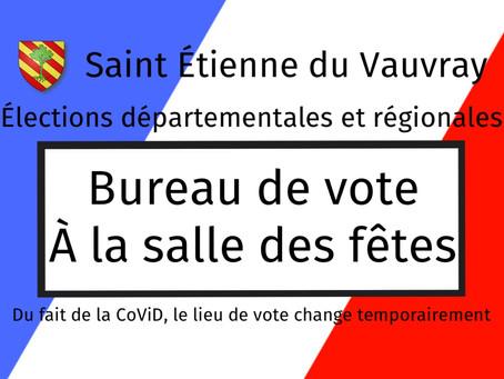 Élections : changement temporaire du lieu de vote du fait de la CoViD