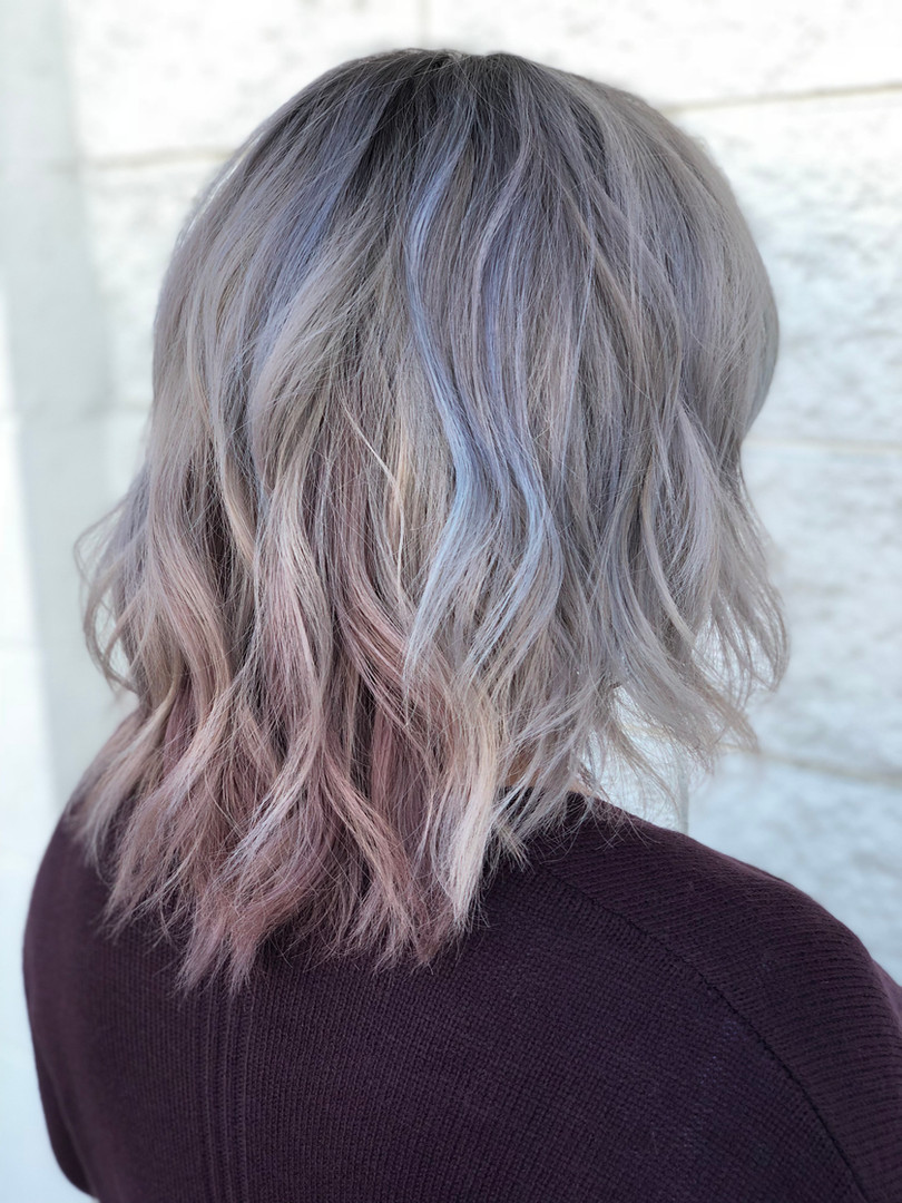 Light Gray Ombré with mauve tips