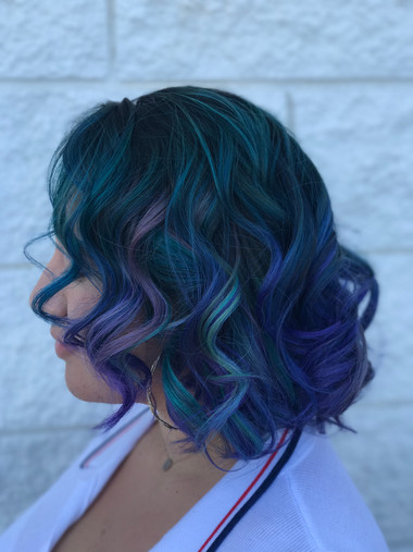 Teal with different purple peekaboos