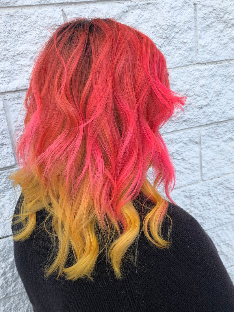 Peach orange with yellow peekaboo
