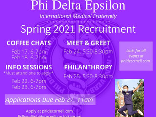 Spring 2021 Recruitment Schedule!