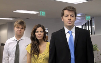 Steve Berg, Jill Bartlett and Brian Gallivan in The Intern