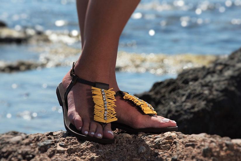 Handmade leather sandals with Swarovski (th1989)