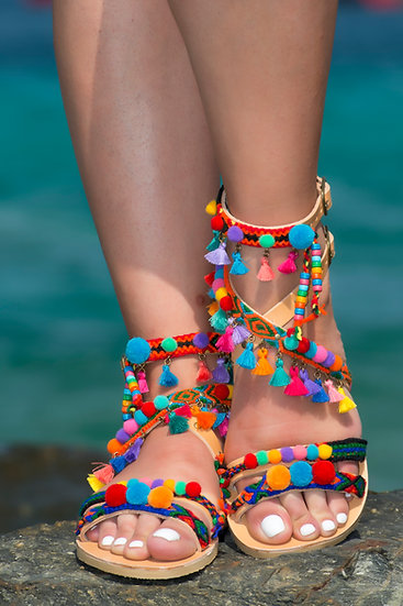 Handmade leather sandals with pom poms (th2011)