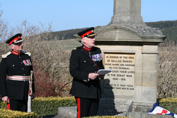 The dedication of Cpl. William Anderson at the Dallas War Memorial. Lord Lt. of Moray Grenville John