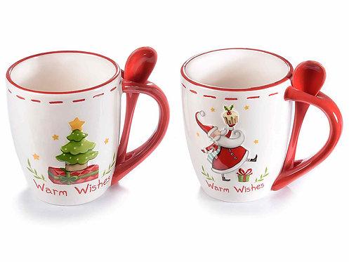 Tazza mug in ceramica con decori natalizi (2 PEZZI)