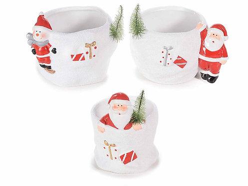 Vaso in ceramica con personaggi natalizi (3 PEZZI)