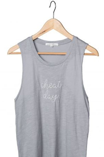 Gray Embroidery Tank Cheat Day